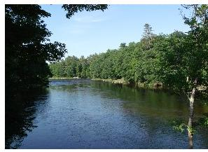 View from the Blair Bridge, downstream on the Pemigewasset River.