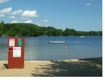Edward N. Doggett Beach, located at the southern end of Little Squam Lake, is the only public beach on the lake.