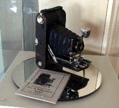 An antique camera on display at the Sugar Hill Historical Museum