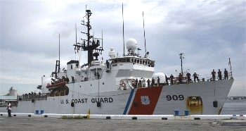 The USCG Cutter Campbell returns from patrol.